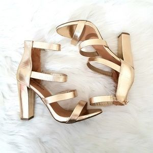 Bamboo Metallic Gold Chunky Strappy Heels